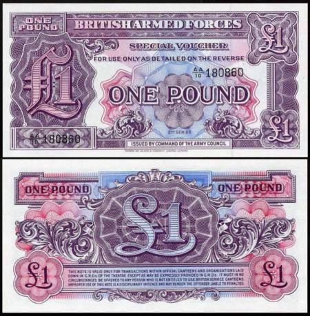 British Armed Forces 1948 - 1 pound UNC, seria 2