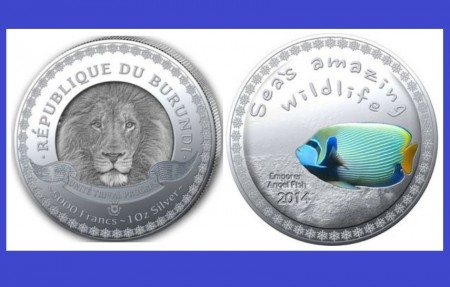 Burundi 2014 - 5000 francs, proof (Emporer angel fish)