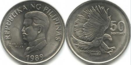 Filipine 1989 - 50 sentimo, circulata
