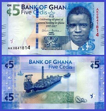 Ghana 2017 - 5 cedis, necirculata