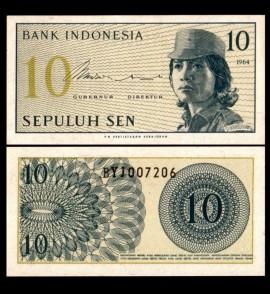 Poze Indonezia 1964 -  10 sen, necirculata