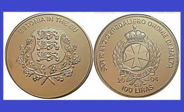 Malta 2004 - 100 lire, proof - Estonia in UE