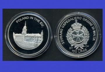 Malta 2004 - 100 lire, proof - Polonia in UE