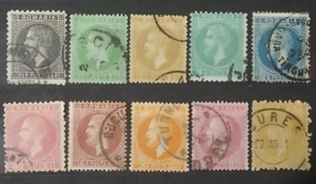 Romania 1872-79 - Carol I., timbre stampilate cu sarniera