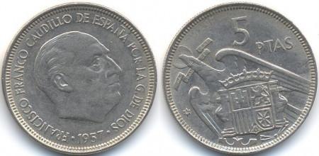 Spania 1957 - 5 pesetas, circulata