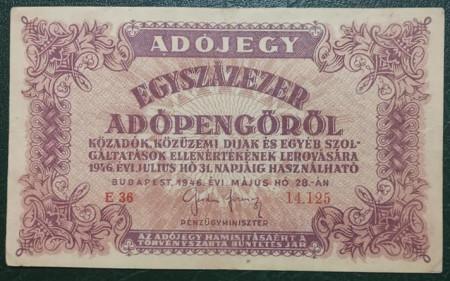 Ungaria 1946 - 100.000 adopengo, circulata - cu serie