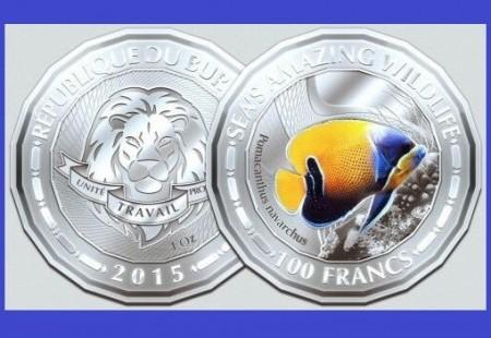Burundi 2015 -   100 francs, proof (Blue Girdled Angelfish Fish)