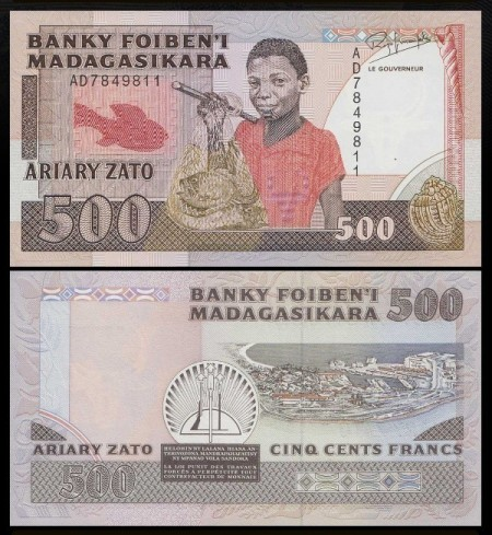 Madagascar 1987 -  500 francs, necirculata