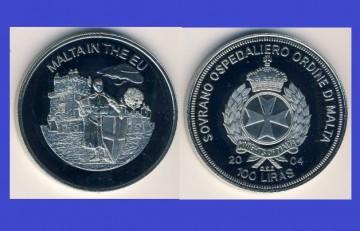 Malta 2004 - 100 lire, proof - Malta in UE