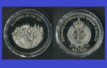Malta 2004 - 100 lire, proof - Slovenia in UE