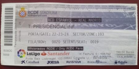 Ticket fotbal 2017 - Espaniol - Real Madrid
