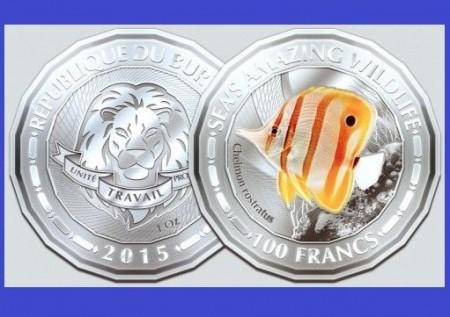 Burundi 2015 -   100 francs, proof (Copperband Butterflyfish Fish)