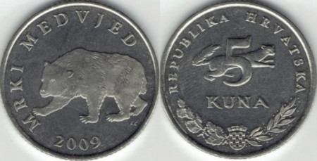 Croatia 2009 - 5 kuna, circulata