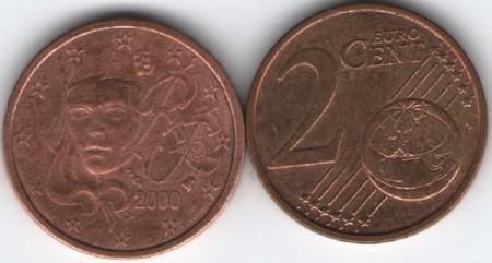 Franta 2000 - 2 eurocent, circulata