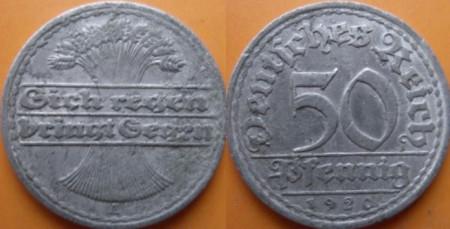 Germania 1920A - 50 pfennig, circulata