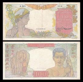 Indochina 1947 - 100 piastres, circulata