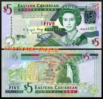 Insulele Caraibe 2008 -  5 dollars, necirculata