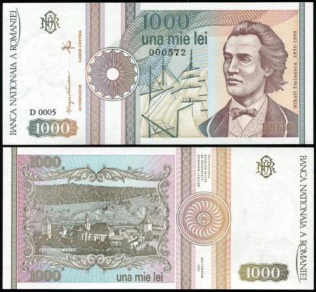 Romania 1991 septembrie - 1000 lei, UNC