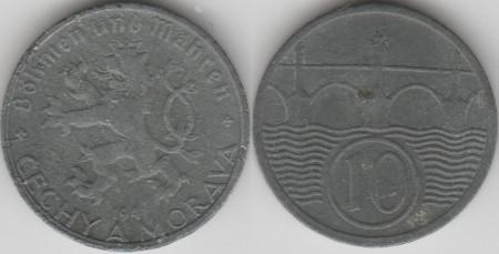 Bohemia & Moravia 1941 - 10 hellers, circulata