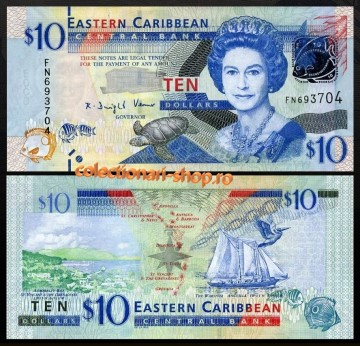 Poze East Caribbean States 2008 - 10 dollars, necirculata
