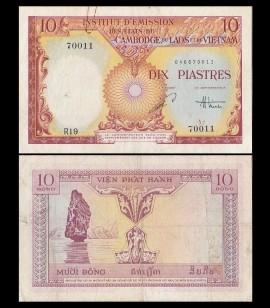 Indochina 1953 - 10 piastres, circulata
