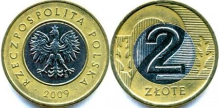 Polonia 2009 - 2 zloty, circulata