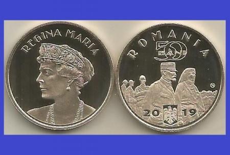 Romania 2019 - 50 bani, regina Maria, UNC