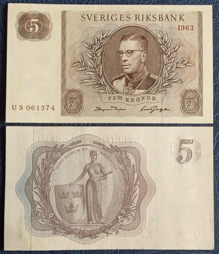 Suedia 1963 - 5 kronor, XF