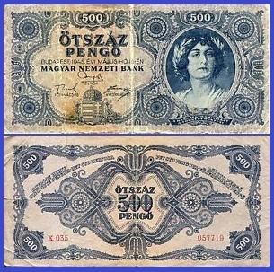 Poze Ungaria 1945 - 500 pengo, circulata