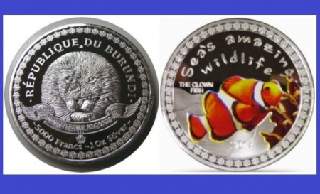 Burundi 2014 - 5000 francs, proof (The clown fish)