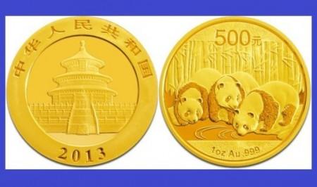 China 2013 - 500 yuan, moneda cu panda, aurit