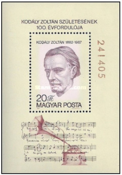 Ungaria 1982 - Zoltan Kodaly (1882-1967), colita neuzata