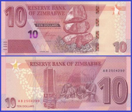 Zimbabwe 2020 - 10 dollars, necirculata