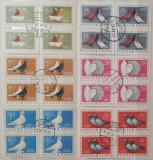 Ungaria 1957 - porumbei, serie stampilata de 4