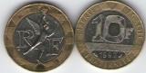 Franta 1992 - 10 franci, circulata
