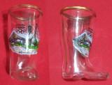 Pahar din sticla in forma de ghete, cu emblema stadionului Olimpic din Munchen