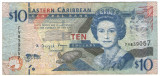 Insulele Caraibe 2008 - 10 dollars, circulata