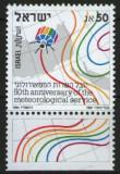 Israel 1986 - A 50-a aniversare a serviciului meteorologic, neuzata cu tabs