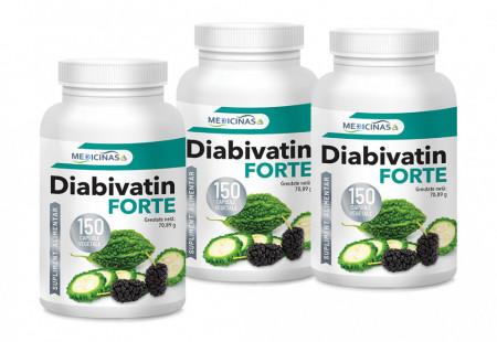 Diabivatin Forte - Pachet 3 luni +GRATUIT cartea Alimentația Antidiabet