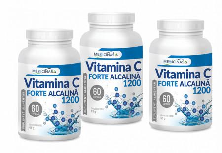 Vitamina C Forte Alcalină 1200 mg - Pachet 3 luni
