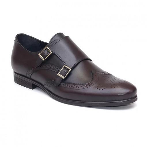 Pantofi eleganti barbati Bruxelle Maro inchis (piele naturala)