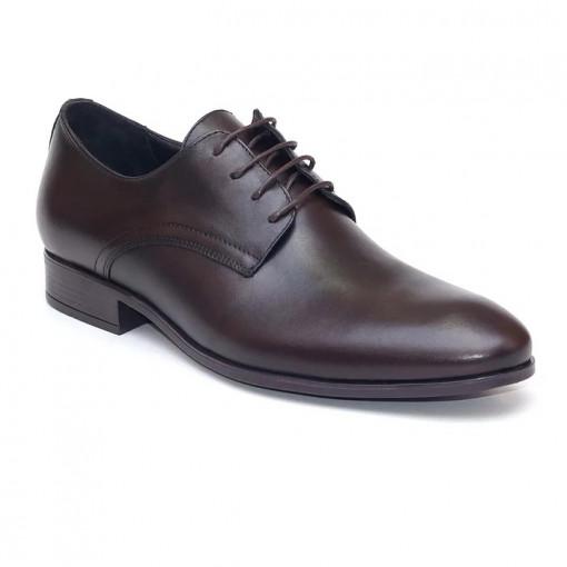 Pantofi eleganti barbati Prague Maro inchis (piele naturala)