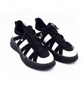 Pantofi sport din piele naturala dama Alb-Negru