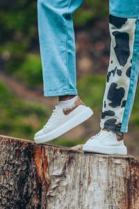 Pantofi sport dama Dona Matis alb (piele naturala)