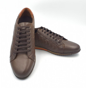 Pantofi sport barbati din piele naturala EMME Maro deschis