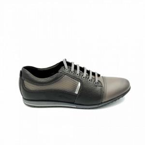 Pantofi sport barbati din piele naturala Emanuel Negru-Gri