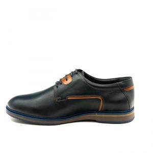 Pantofi casual barbati Derby bleu inchis (piele naturala)