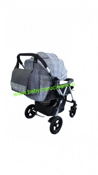 Cărucior nou născut 2 in 1 +geanta multifuncționala+plasă pentru insecte Baby Care 511 Grey Design