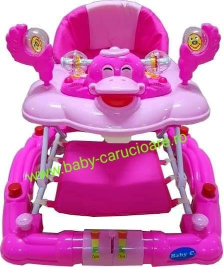 Poze Premergator balansoar 2 in 1 cu roți din silicon Baby Care Ratusca Roz