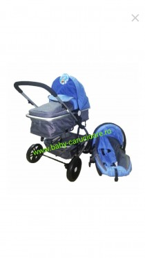 Poze Cărucior nou născut 3 in 1 Baby Care YK 18-19 Albastru cu gri